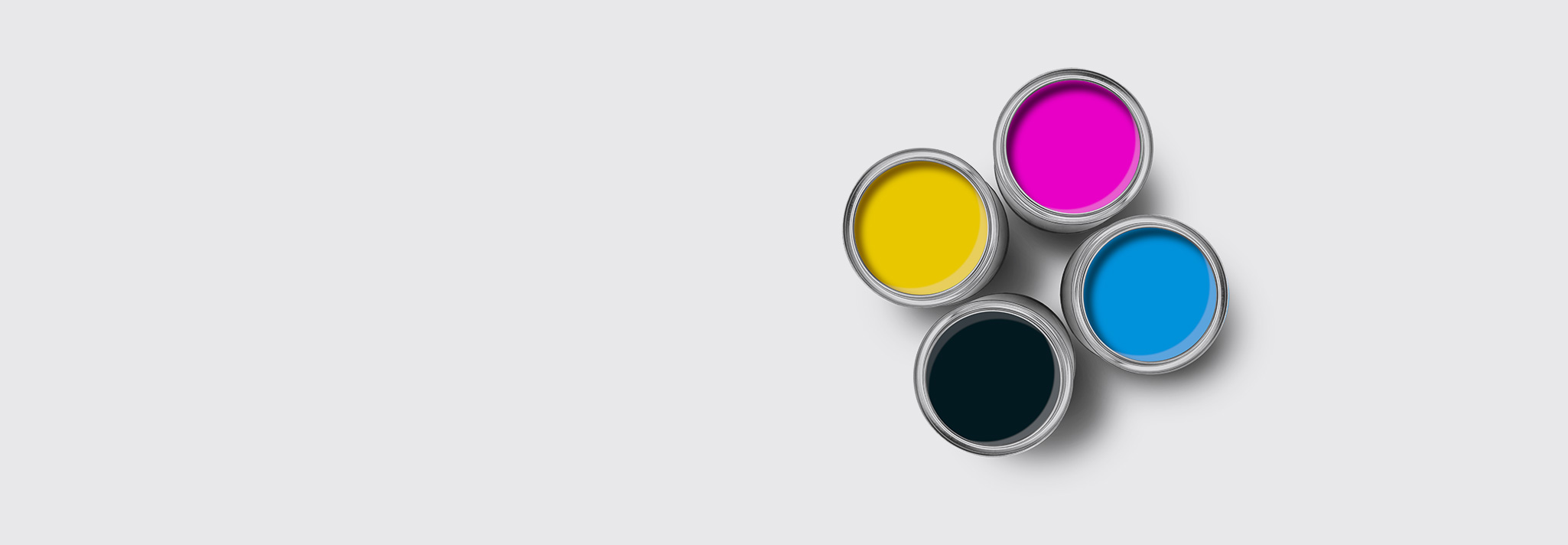 four paint cans from top - yellow - purple - blue - black