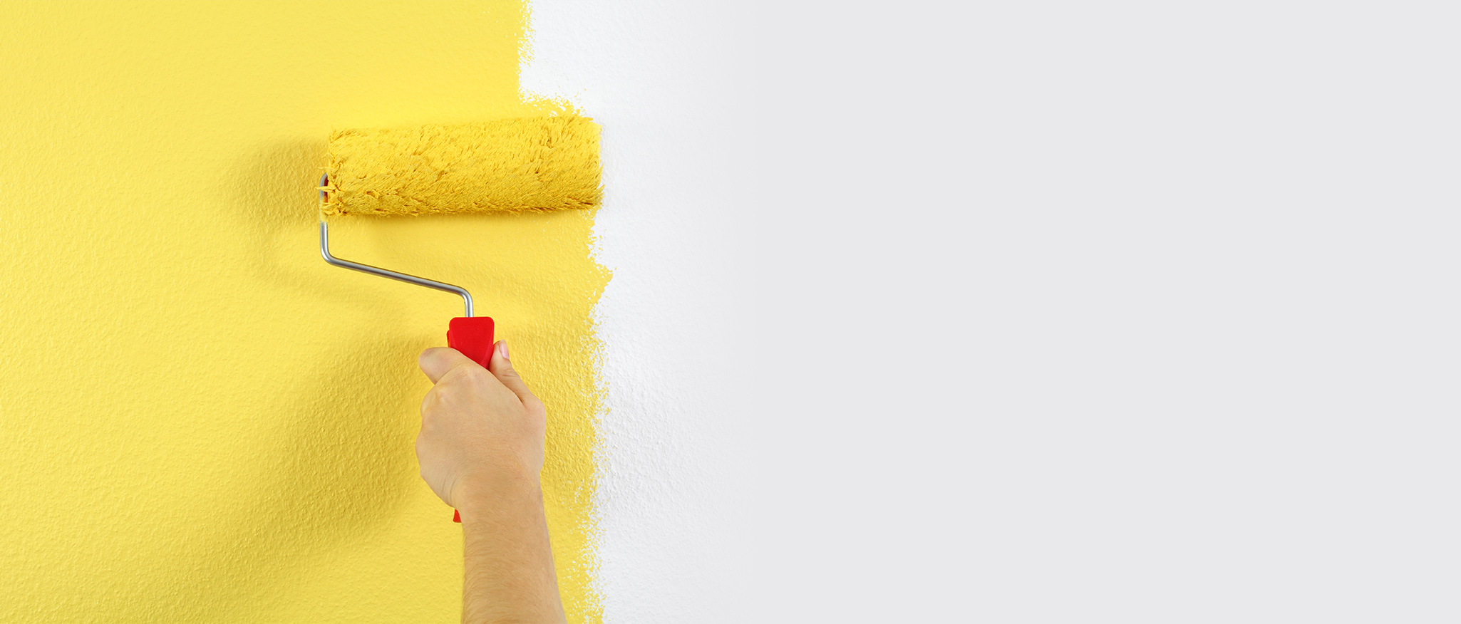 paint roller with yellow paint painting white wall