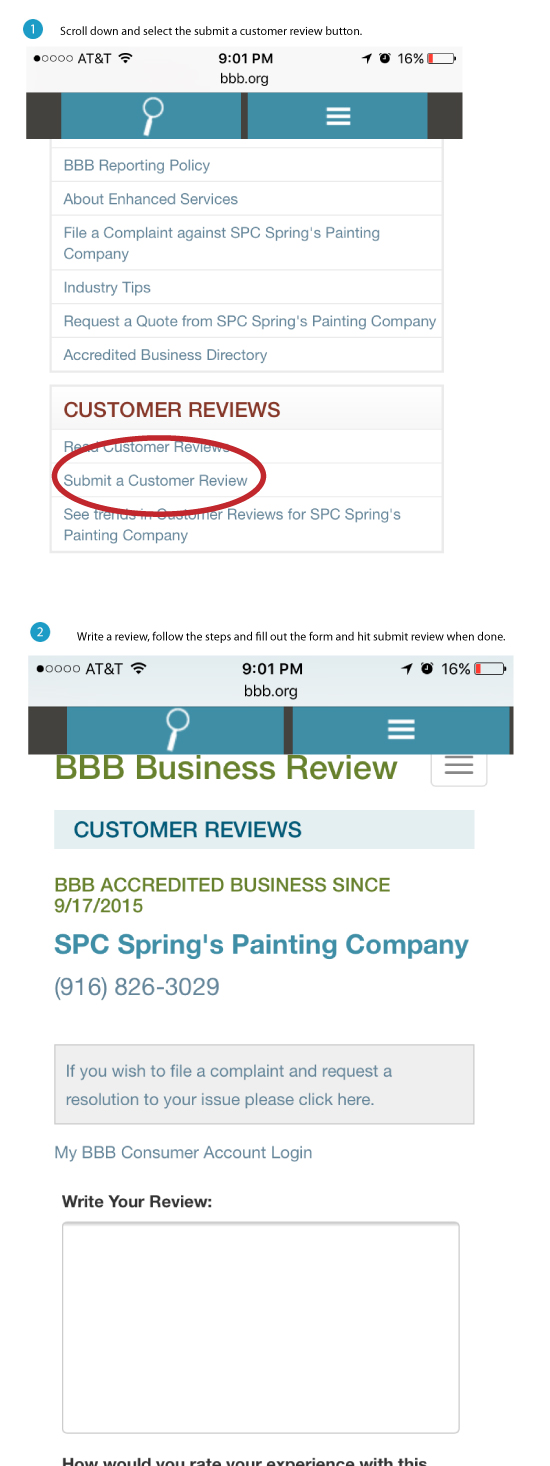 Springs Painting Co review BBB mobile instructions