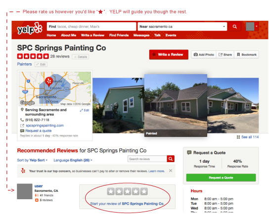 Springs Painting Co review yelp desktop instructions