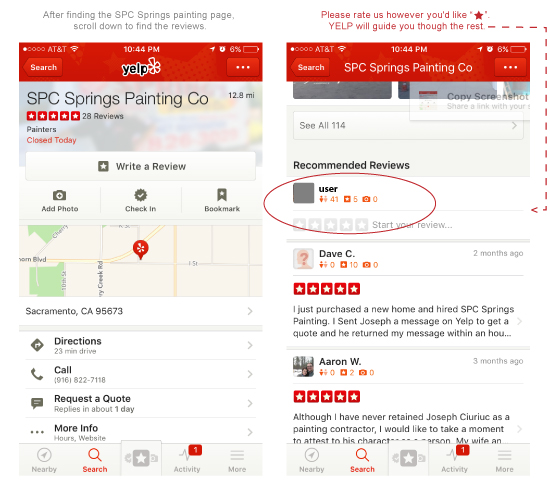 Springs Painting Co review yelp mobile instructions