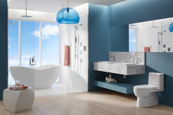 Holistic Bathroom - Bathroom Color Palette - cool blue bathroom