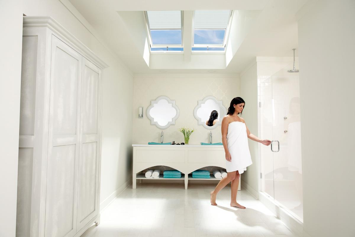 Well lit bathroom with natural light